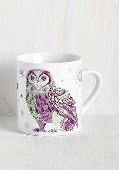 Force of Habitat Mug in Owl - Multi, Purple, Print with Animals, Print, Owls, Critters, Bird, Good, SF Fit Shop