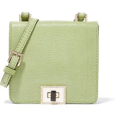 Valentino - Embellished Lizard Shoulder Bag ($2,038) ❤ liked on Polyvore featuring bags, handbags, shoulder bags, light green, green shoulder bag, handbags shoulder bags, hand bags, valentino purses and man bag