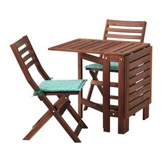ÄPPLARÖ Table and 2 folding chairs, outdoor - brown stained, Ytterön blue - IKEA Small Balcony Furniture, Balcony Chairs, Dining Room Chair Cushions, Outdoor Dining Furniture, At Home Furniture Store, Outdoor Dining Set, Outdoor Tables, Dining Sets, Office Chairs