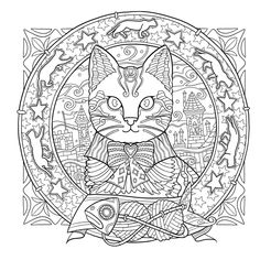 AmazonSmile: Mystical Cats in Secret Places: A Cat Lover's Coloring Book (9781626923959): Honoel: Books