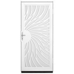 Unique Home Designs 36 in. x 80 in. Solstice White Surface Mount Steel Security Door with White Perforated Screen and Brass Hardware, Powder-Coat White