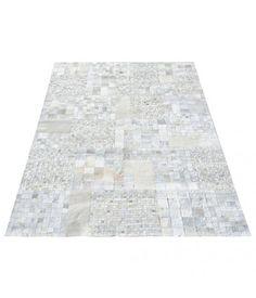 Vloerkleed wit leder blokken 200 x 300 cm