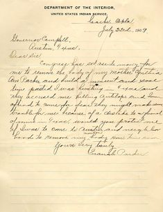Quanah Parker to Governor Campbell, 1909 - Texas State Library and Archives Commission Native American Church, Native American Images, Native American Tribes, Native American History, Native Americans, Cherokee History, Texas History, Family History, Comanche Indians