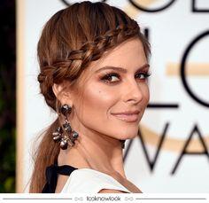 Penteado com trança da atriz Maria Menounos, perfeito para quem ama o cabelo preso em festas e casamentos! #penteado #cabelo #hair #hairstyle #beleza #beauty #inspiração #goldenglobe #globodeouro #trança #lnl #looknowlook