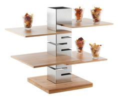The Tall Column Skycap Riser expands your surface area and starts conversations. Bread Display, Display Boxes, Industrial Design Portfolio, Portfolio Design, Metal Sheet Design, Food Truck Design, Apartment Balcony Decorating, Food Displays, Wood Boxes