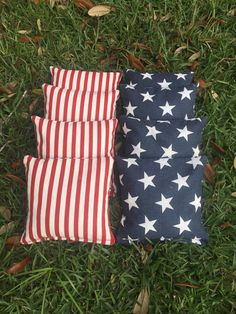 Cornhole Bags Patriotic Stars and Stripes by CloesQuilts on Etsy
