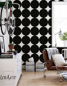 Black Giant Dots Wallpaper - Dot Pattern - Black and White Wallpaper - Removable Wallpaper - Peel and Stick - Modern decor - Wall Decal - 39