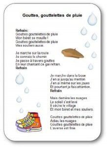 Comptine pour enfants sur la pluie, l'eau et l'automne Gouttes goutelettes de…