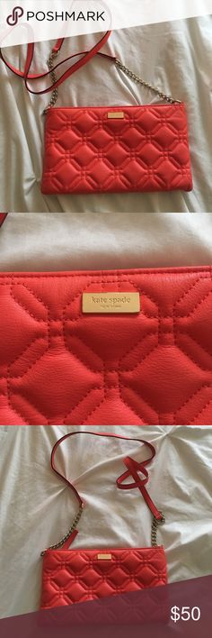 "♠️ Orange Kate Spade Cross Body Bag ♠️ Lightly used Kate Spade Cross Body bag! Excellent condition! A tiny bit of fading on back of bag. A few tiny scratches on the kate Spade emblem. Offers are always welcome! Feel free to ask any questions. Dimensions are 9"" by 5"" kate spade Bags Crossbody Bags"