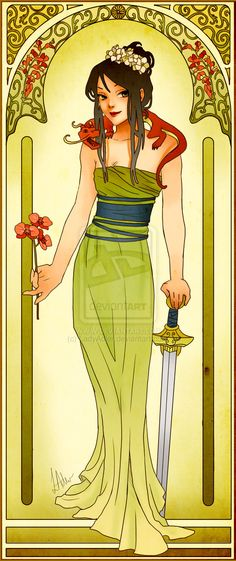 :: Disney Princesses Mucha Style Pin-Up Art  by Hannah-Alexander (posted on GeekTyrant): The entire series is worth a look - the dragon's what caught my eye here. Artists have SUCH fun!