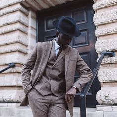 Tweed // menswear, style, double-breasted, hat, suit, mens style