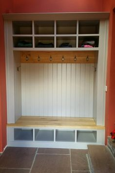Bench seat for a boot room. Farrow & Ball painted carcass with European Oak accents by jdwoodwork.co.uk Boot Room, House, Home Additions, Storage Bench, Oak Accent, Home Decor, Farrow And Ball Paint, Storage, Custom Woodworking