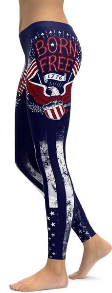 American Patriot - Born Free Leggings - GearBunch For Great Yoga Products Visit Our Website Crazy Leggings, Free Leggings, Printed Leggings, Awesome Leggings, Skull Leggings, Cheap Leggings, Blue Color Combinations, Workout Leggings, Leggings Fashion