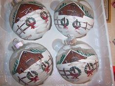 Glass ball ornaments handpainted for Christmas.