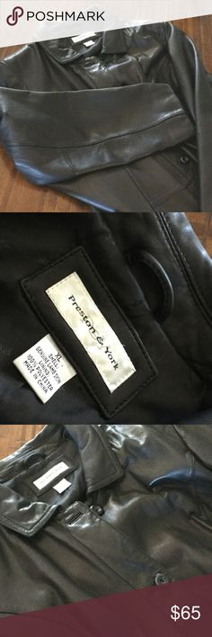 """Lamb Skin Leather Women's Coat. Dark brown/Black This beautiful coat is made of very soft lamb skin. It is a very dark brown. (Almost black) The stitching, buttons, seams, and leather's surface are all in excellent condition. Women's XL (a generous size 18). I am 5'8"""" tall and it hits me at mid thigh. Smoke free/Pet free home Preston & York Jackets & Coats"""