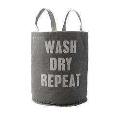 laundry bag, wäschekorb mit griff, grau in baumwolle. wash, dry, repeat. von bloomingville