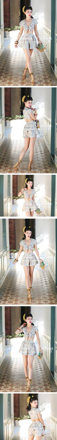 le palais vintage PIN UP经典性感低胸超短上衣+裙裤套装 0.25-淘宝网全球站