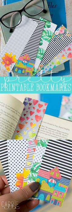 These pretty printable bookmarks are cute and cheerful - you'll want to print them all. They're free, and the perfect size for any book! Free Printable Bookmarks, Diy Bookmarks, Printable Crafts, Printable Planner, Free Printables, Crochet Bookmarks, Printable Book Marks, Planner Stickers, Bookmark Craft