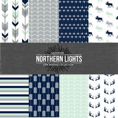 The Northern Lights Collection Crib Bedding Set - Mint/Navy/Grey Select your bedding set option from the drop down list. Message me with your
