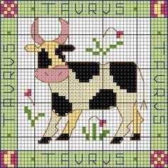Taurus April 20 - May 16 av 37 Cross Stitch Cow, Cross Stitch Charts, Cross Stitch Designs, Cross Stitch Patterns, Cross Stitching, Cross Stitch Embroidery, Cross Stitch Freebies, Canvas Designs, Perler Patterns
