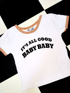 ITS ALL GOOD BABY BABY! #notoriousbig #tho  Round neck cropped ringer tee Contrast trims Cotton spandex blend Allover stretch Lightweight