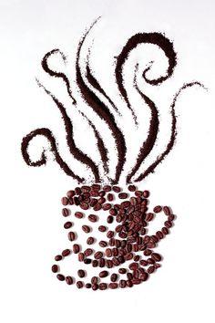 """Espectacular…una taza de café """"super apetitosa"""" hecha con los propios granos del #cafe….me estoy acordando de algo….¿vamos a por uno? #coffeeart"""