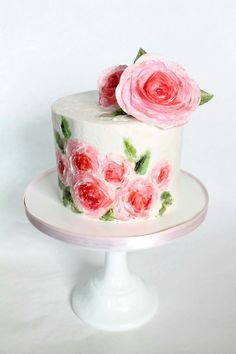 Rose Cake ... painted with buttercream