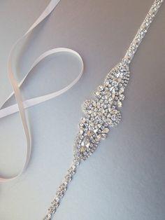 Bridal belt, Swarovski crystal bridal belt sash, Silver Wedding belt sash, Rhinestone bridal belt, Skinny bridal belt full length