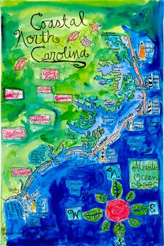 """They call this a """"Coastal"""" North Carolina Map, but the one and only coastal town they highlighted is Wilmington. None of the others are coastal at all. Plus, they put New Bern where Washington is. Coastal North Carolina, Outer Banks North Carolina, North Carolina Beaches, North Carolina Homes, South Carolina, Holden Beach North Carolina, Emerald Isle North Carolina, Nc Map, Nc Beaches"""