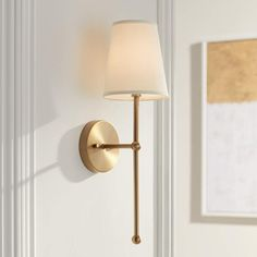 Possini Euro Elena High Warm Brass Wall Sconce - Lamps Plus Open Box Outlet Site Sconces Living Room, Bathroom Wall Sconces, Wall Sconce Bedroom, Bedroom Wall Lights, Hallway Wall Lights, Hallway Sconces, Master Bathroom, Chandeliers, Chandelier Design