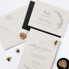 Gold wax seals for a modern and elegant wedding invitation set Floral Invitation, Elegant Wedding Invitations, Invitation Design, Wedding Stationery, Custom Invitations, Wax Seals, Stationery Design, Gold Wedding, Wedding Details