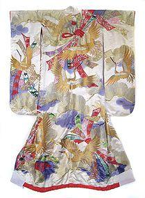 silk wedding kimono with gold cranes