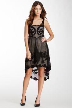 Kaii Black and Sheer Embroidered Dress