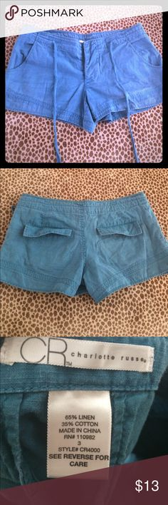 Charlotte Russe Linen Shorts Size 3 Charlotte Russe 65% Linen and 35% Cotton Shorts. These are in Excellent Used Condition. They are button up with a drawstring. Charlotte Russe Shorts