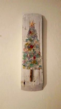 Christmas DIY: Sea Glass Christmas Sea Glass Christmas Tree-I could do this. #christmasdiy #christmas #diy