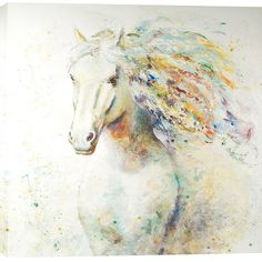 Hobbitholeco Colorful Horse 47-inch x 47-inch Oil Wall Art ($350) ❤ liked on Polyvore featuring home, home decor, wall art, horse home decor, horse wall art, colorful wall art, animal wall art and canvas home decor