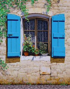 Blue Shutters Painting - Blue Shutters by Michael Swanson