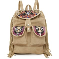ONE by Embroidered Backpack (€115) ❤ liked on Polyvore featuring bags, backpacks, tan, leather backpack, flap backpack, genuine leather backpack, leather knapsack and drawstring backpack