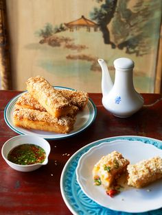 Prawn toasts with chilli and coriander dipping sauce