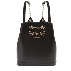 Charlotte Olympia Feline leather backpack (€1.000) ❤ liked on Polyvore featuring bags, backpacks, black, day pack rucksack, leather bags, leather backpack, rucksack bags and leather knapsack