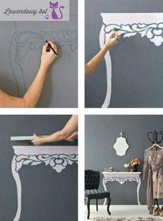 Stół na ścianie - pomysły i inspiracje - Lawendowy Kot