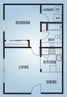 609 Anderson - One Bedroom E - 600 Square Feet . 609 Anderson - One Bedroom E - 600 Square Feet Mo One Bedroom House Plans, 1 Bedroom House, Small House Floor Plans, Basement House Plans, Cabin Floor Plans, Bedroom Floor Plans, Basement Stairs, House Bath, Basement Bedrooms