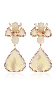 White Opal And Fancy Diamond Earrings by NINA RUNSDORF (=)