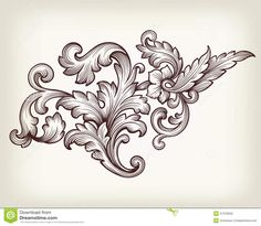 Vintage Baroque Floral Scroll Ornament Vector - Download From Over 52 Million High Quality Stock Photos, Images, Vectors. Sign up for FREE today. Image: 47378035