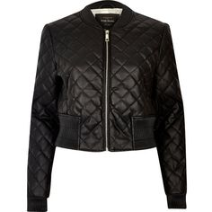 River Island Black quilted bomber jacket ($120) ❤ liked on Polyvore featuring outerwear, jackets, black, bomber jackets, coats / jackets, women, flight jacket, bomber jacket, zip bomber jacket and zipper jacket