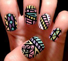 Aztec nail art design - soft colors