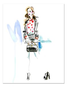 Street Style Fashion Illustration of Annie Georgia Greenberg by Meagan Morrison of Travel Write Draw!