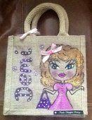 Posh Shopper Designs Small Jute Personalised Handpainted Bag