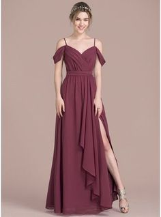 A-Line/Princess V-neck Floor-Length Chiffon Bridesmaid Dress With Bow(s) Split Front Cascading Ruffles (007104738) - JJsHouse