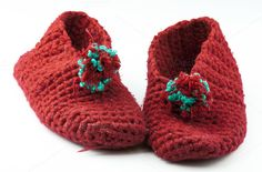 Red knitted slippers by Cebas on @creativemarket